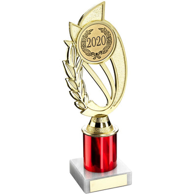 GOLD/RED PLASTIC HOLDER ON MARBLE TROPHY -     (2in CENTRE) 9in