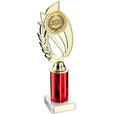 GOLD/RED PLASTIC HOLDER ON MARBLE TROPHY -     (2in CENTRE) 10in