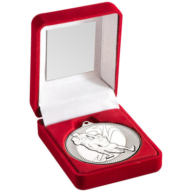 Red Velvet Box And 50mm Medal Rugby Trophy - Silver 3.5in