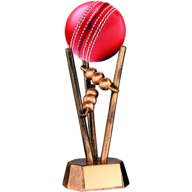 BRZ/GOLD RESIN CRICKET BALL HOLDER - 6.5in