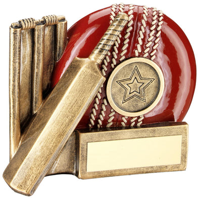 BRZ/RED CRICKET BALL, BAT AND STUMPS CHUNKY FLATBACK TROPHY (1in CENTRE) - 4.25""