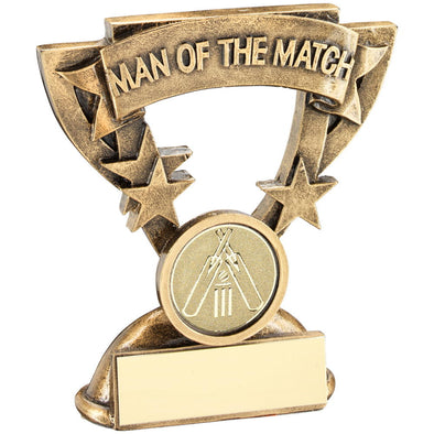 BRZ/GOLD MAN OF THE MATCH MINI CUP WITH CRICKET INSERT TROPHY - 3.75in