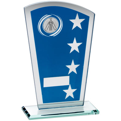 Blue/Silver Printed Glass Shield With Cricket Insert Trophy - 8in