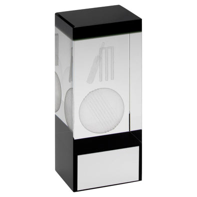 Clear/Black Glass Block With Lasered Cricket Image Trophy - 4in