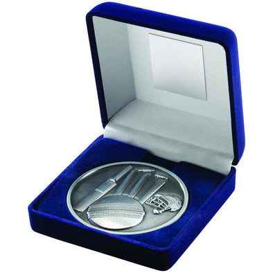 BLUE VELVET BOX AND 70mm MEDALLION CRICKET TROPHY - ANTIQUE SILVER 4in
