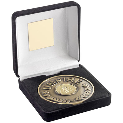 BLACK VELVET BOX AND 70mm UMPIRE MEDALLION WITH CRICKET INSERT - ANTIQUE GOLD