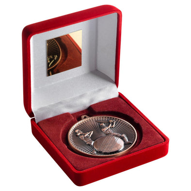 RED VELVET BOX AND 60mm MEDAL CRICKET TROPHY - BRONZE - 4in