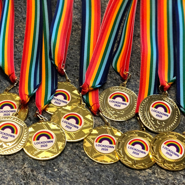 Lockdown 2020 Medal - 50mm - Gold With Rainbow Ribbon