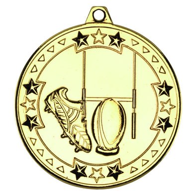 Rugby 'tri Star' Medal - Gold 2in