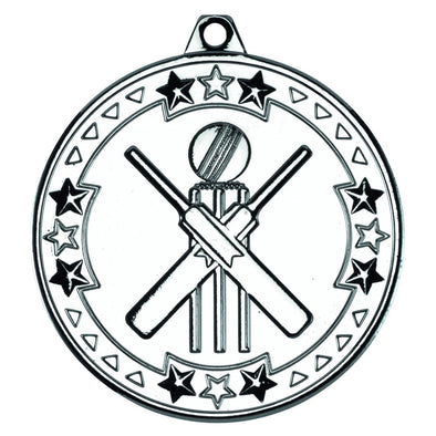 CRICKET 'TRI STAR' MEDAL - SILVER 2in