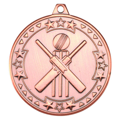 CRICKET 'TRI STAR' MEDAL - BRONZE 2in