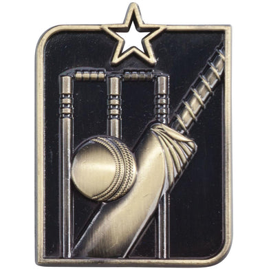 Centurion Star Series Cricket Medal Gold 53x40mm