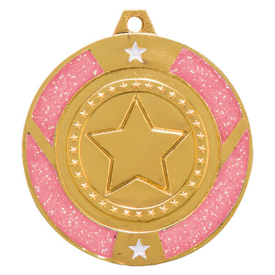 Glitter Star Medal Gold & Pink 50mm