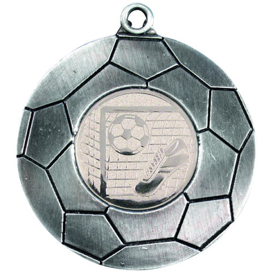 Domed Football Medal (1in Centre) - Antique Silver 2in