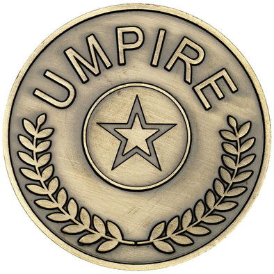UMPIRE MEDALLION (1in CENTRE) - ANTIQUE GOLD - 2.75in