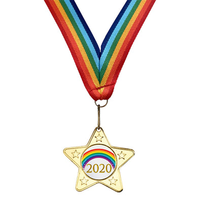 Rainbow Ribbon Lockdown Medal Well Done Medal Hero Through Lockdown Medal