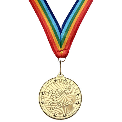 50mm Well Done Medal - With Rainbow Ribbon