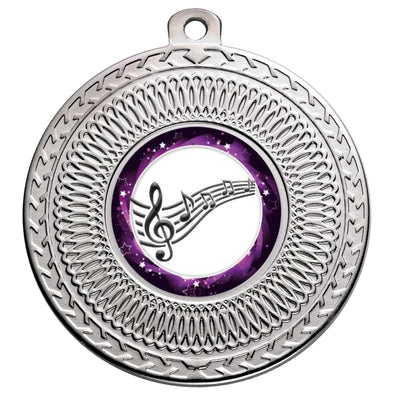 Music Silver Swirl 50mm Medal