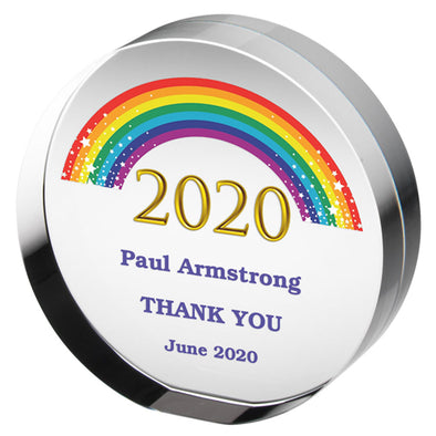 2020 Rainbow Clear Glass Round Paperweight (30mm Thick)