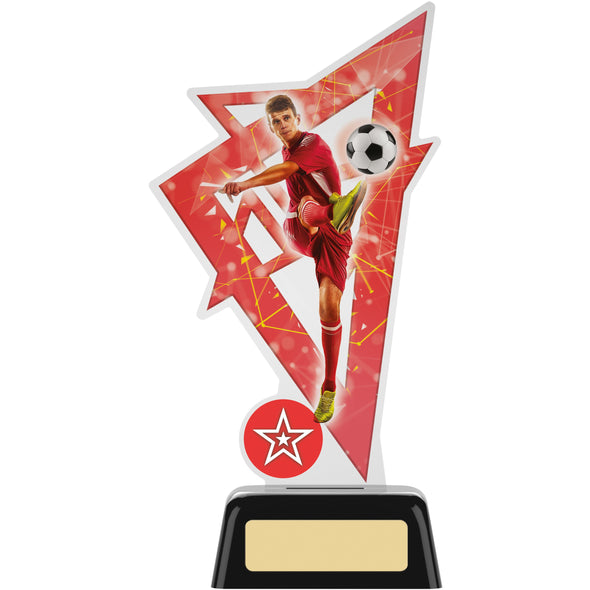 Male Football Acrylic Trophy 19cm