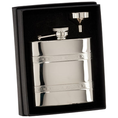 The Balefire Celtic Engraved Polished Steel Flask 115mm 6oz
