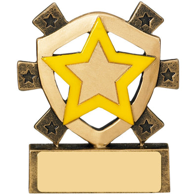 Yellow Star Mini Shield Trophy 8cm