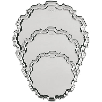 8 Inch Solid Silver Chippendale Tray - Satin Lined Wooden Presentation Case - Wooden Stand
