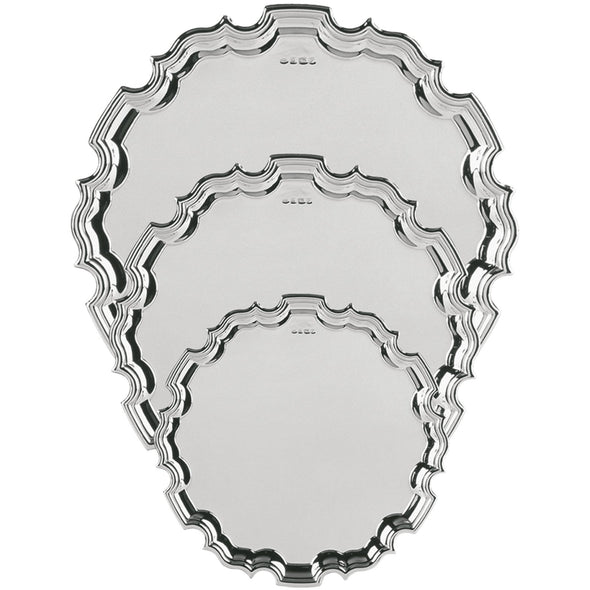 12 Inch Solid Silver Chippendale Tray - Satin Lined Wooden Presentation Case - Wooden Stand