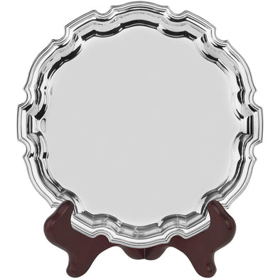 8 inch Chippendale Tray - Nickel Plated - With Presentation Box & Plastic Stand