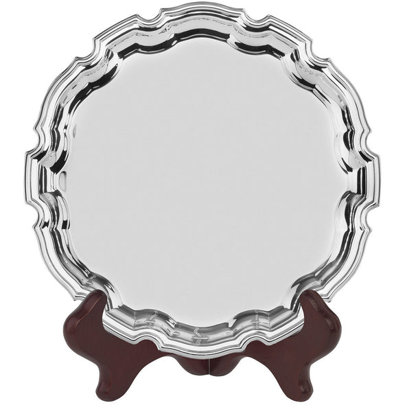 10 Inch Chippendale Tray - Nickel Plated - With Presentation Box & Plastic Stand