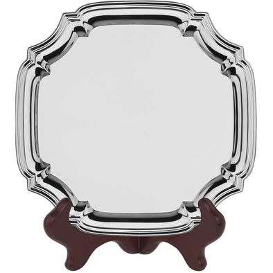 10 Inch Square Chippendale Tray - Nickel Plated - With Presentation Box & Plastic Stand