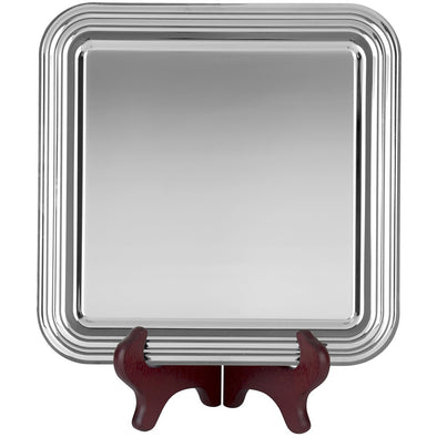 7 inch Chippendale Tray - Nickel Plated - Square Shaped – With Presentation Box & Plastic Stand