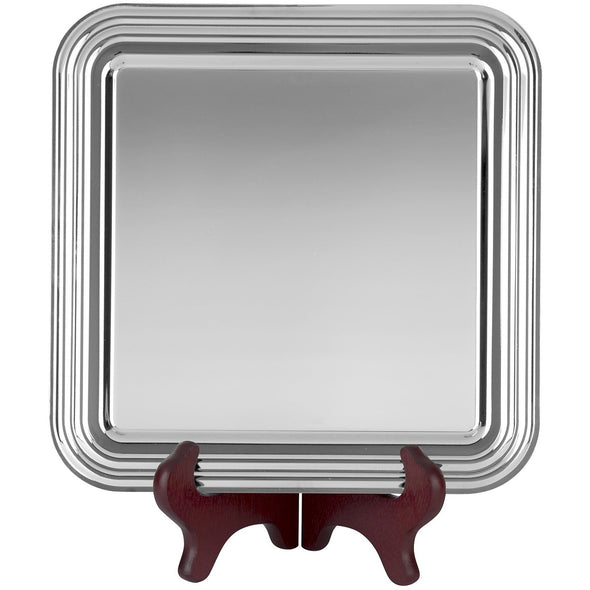9 Inch Chippendale Tray - Nickel Plated - Square Shaped – With Presentation Box & Plastic Stand