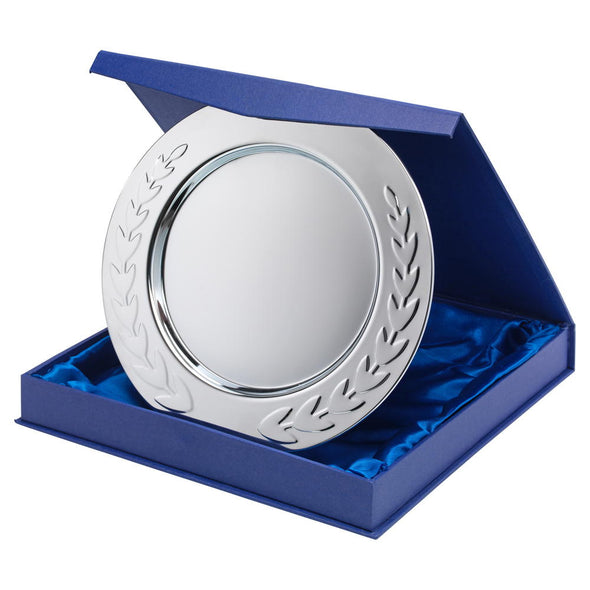 Silver Plated Iron Salver - Round With Laurel Edge - Presentation Box  & Stand - 12 Inches