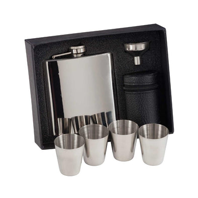Aintree Personalised Polished Steel Flask & Cups 115mm 6oz
