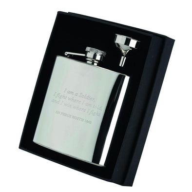 6oz Engraved Stainless Steel Hip Flask With Captive Top - 4.25in