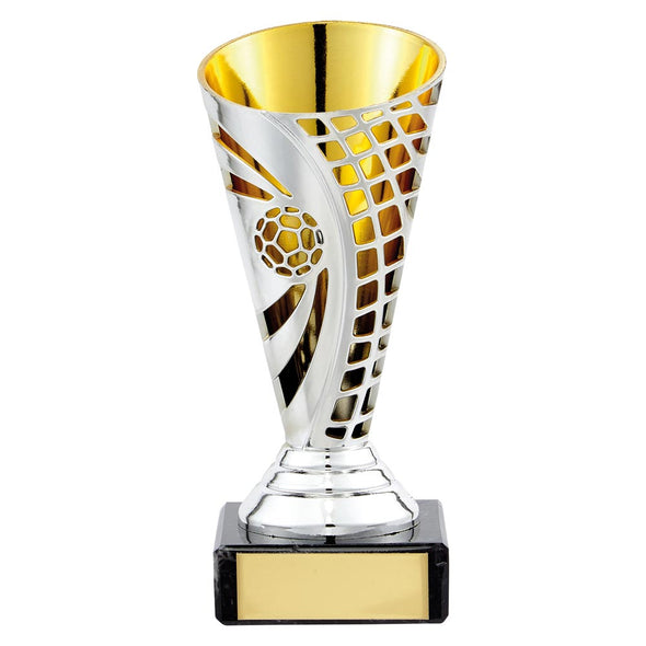 Defender Football Trophy Cup Silver & Gold 140mm