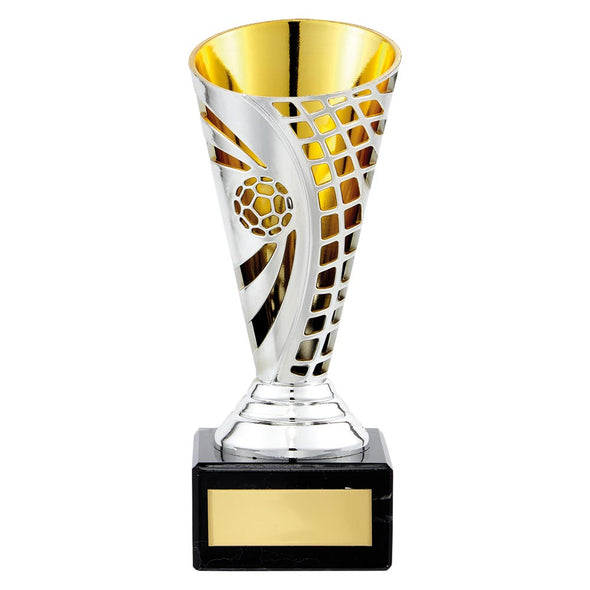 Defender Football Trophy Cup Silver & Gold 150mm
