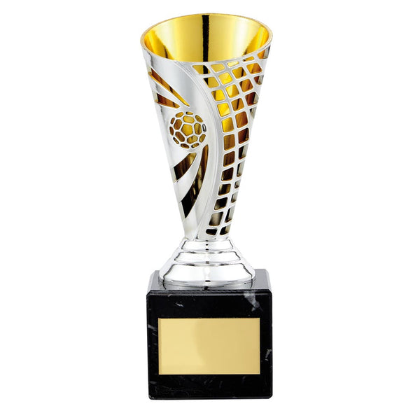 Defender Football Trophy Cup Silver & Gold 170mm