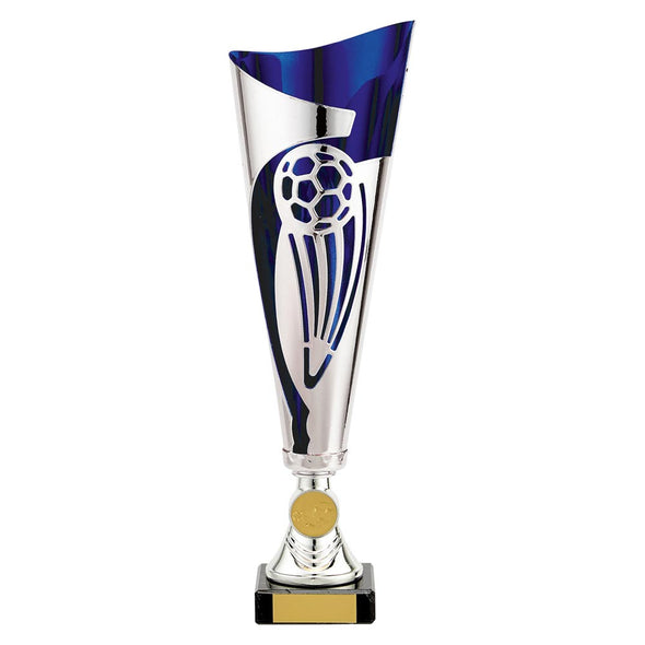 Champions Football Cup Silver & Blue 325mm