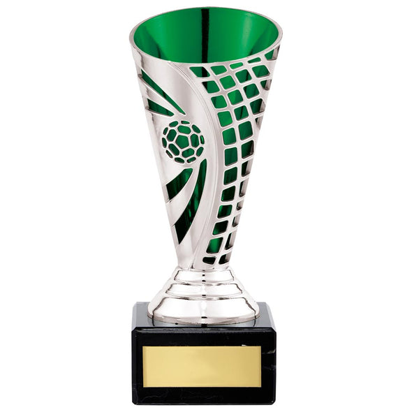 Defender Football Trophy Cup Silver & Green 150mm