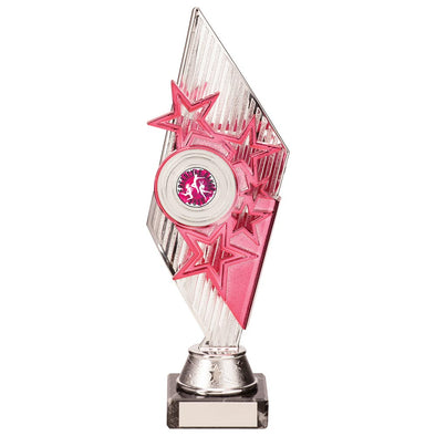 Pizzazz Plastic Trophy Silver & Pink 270mm