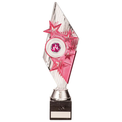 Pizzazz Plastic Trophy Silver & Pink 300mm