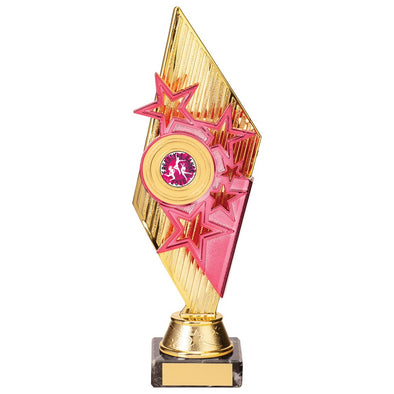 Pizzazz Plastic Trophy Gold & Pink 270mm