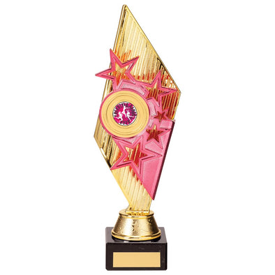 Pizzazz Plastic Trophy Gold & Pink 280mm