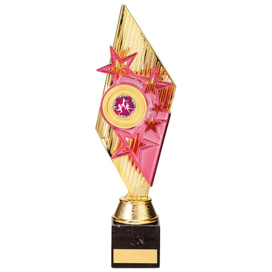 Pizzazz Plastic Trophy Gold & Pink 300mm