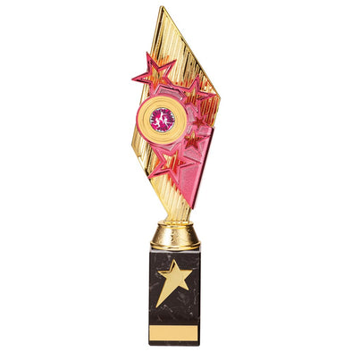 Pizzazz Plastic Trophy Gold & Pink 350mm
