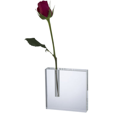 Optical Crystal Single Rose Flower Holder 5in x 5in