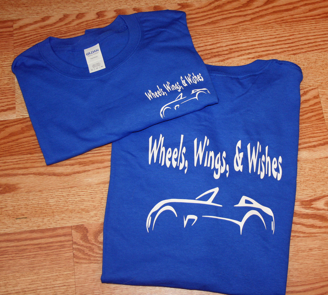 Wheels, Wings & Wishes Blue Adult T-Shirts