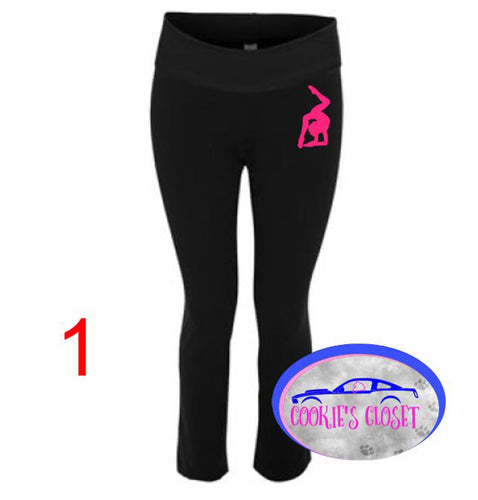***CLEARANCE*** Ladies Yoga Pants with your choice of dancer